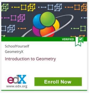 Verified, SchoolYourself, GeometryX, Introduction to Geometry, edX, www.edx.org, Click to Enroll Now