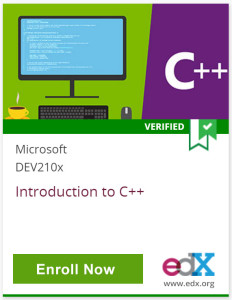 C++, Verified, Microsoft DEV210x, Introduction to C++, Click to Enroll Now, edX, www.edx.org