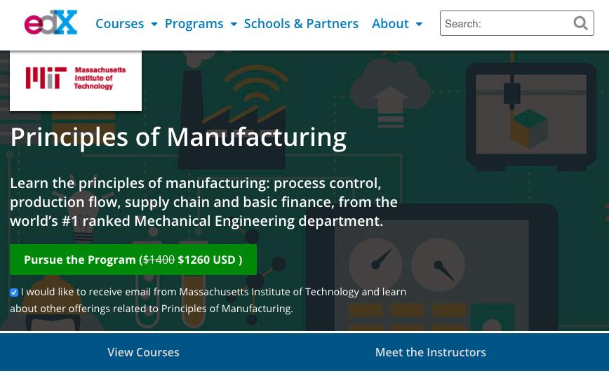 screenshot of Principles of Manufacturing program page