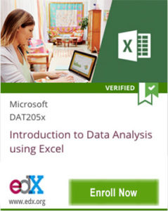 Link To Introduction to Data Analysis using Excel from Microsoft