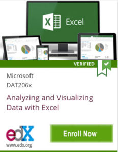 Link To Analyzing and Visualizing Data with Excel from Microsoft