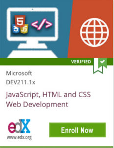 Link To JavaScript, HTML and CSS Web Development from Microsoft