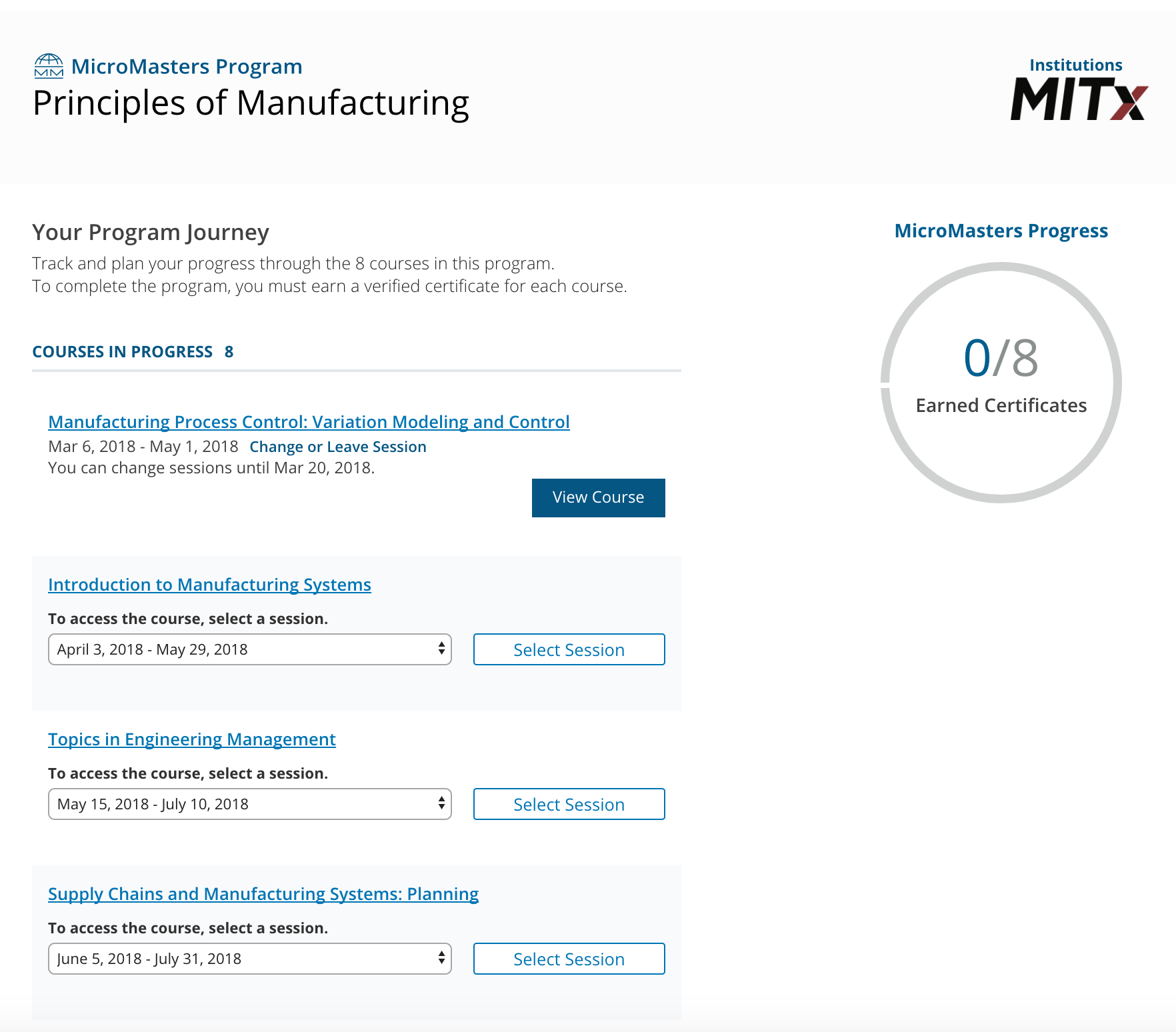 screenshot of Principles of Manufacturing enrollment page