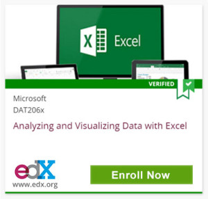 Excel, Verified, Microsoft DAT206x, Analyzing and Visualizing Data with Excel, edX, www.edx.org, Click to Enroll Now